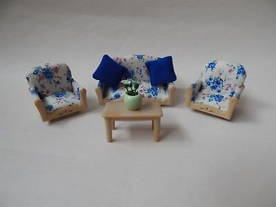 Sylvanian Families sofa, two arm chairs and coffee table