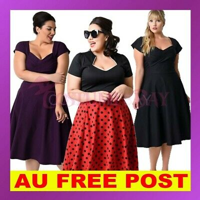 Plus Size Vintage Womens Rockabilly 50s Swing Housewife Pinup Formal Retro Dress