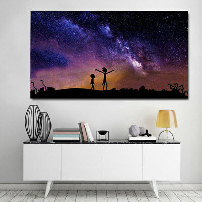 Poster Paintings Colorful Beautiful Rick and Morty Printing Home Wall Decor