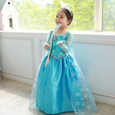 Kids Girls Dresses Princess Children Elsa Cosplay Frozen Costume Party Dress AU