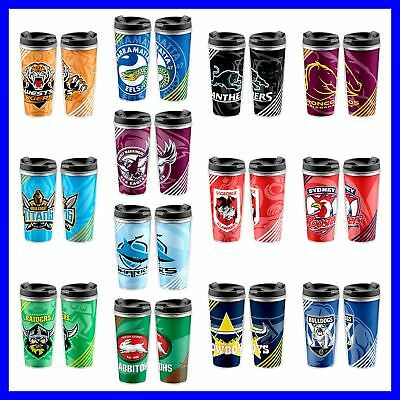 NRL Plastic Reusable Travel Eco Cup Mug with Lid - Select Team