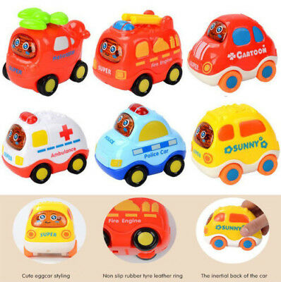 6PCS Set Cartoon Cars Inertial Back Helicopter Police Car Taxi Minibus Baby Toys