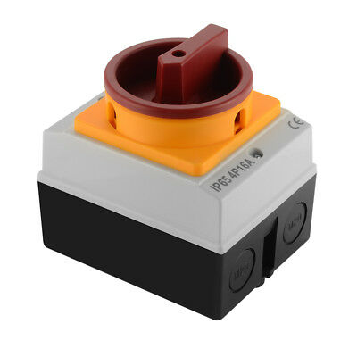 4P-16A IP65 Electrical Switch Rotary Isolator Enclosure Mounted Lockable TE825