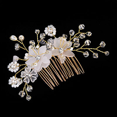 Crystal Rhinestone Flower Wedding Bridal Hair Comb Hairpin Clip Jewelry