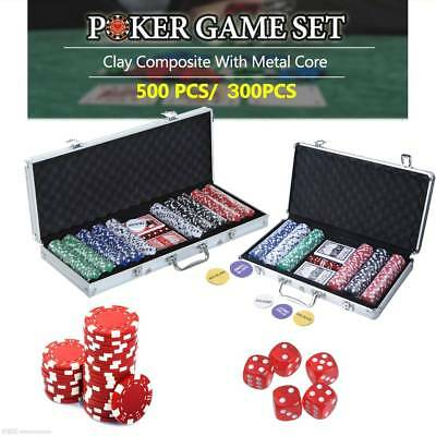 New 500/300 PCS Casino Poker Chips Set Texas Card Game 5 DICE WITH ALUM. CASE