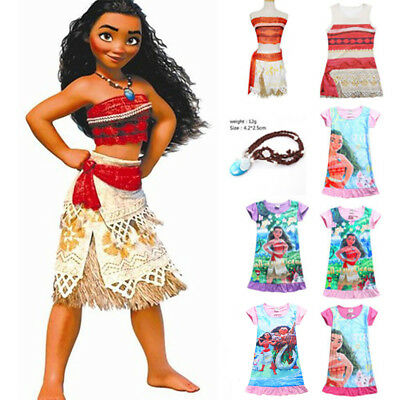 Kids Costume Moana Princess Girl Fancy Dresses Cosplay Sundress Clothes Nacklace