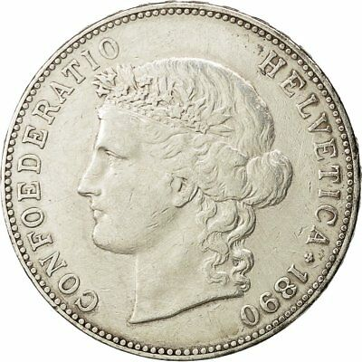 [#454338] Coin, Switzerland, 5 Francs, 1890, Bern, EF(40-45), Silver, KM:34