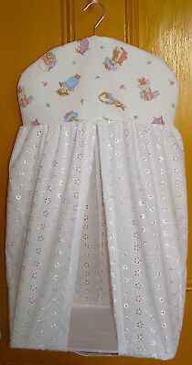 Peter Rabbit, Benjamin Bunny, Tom Kitten, Broderie Anglaise  Nappy Stacker