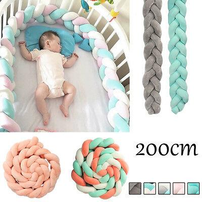 1.5M/2M Baby Infant Plush Crib Bumper Bed Bedding Cot Braid Pillow Pad Protector