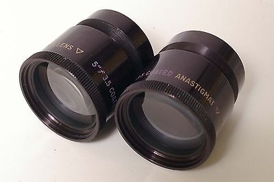 F68054~ TDC Stereo Projector 5 Inch f/3.5 Matched Coated Anastigmat Lens Set
