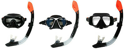 Adult Silicone Dry Top Snorkel & Silicone Mask Dive Set (Black) - Two Bare Feet