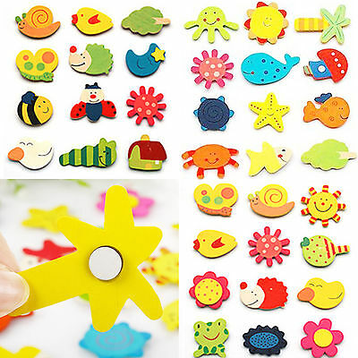 24PCS Animal Wooden Fridge Magnet Sticker Refrigerator Education Toy Home DIY