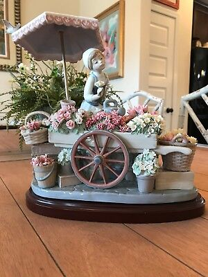 LLADRO 1454 FLOWERS OF THE SEASON WITH WOOD BASE excellent condition.