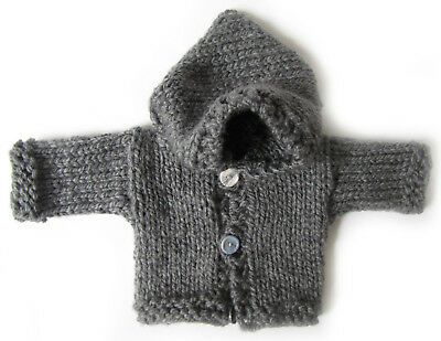 NEW KSS Handmade Grey Heavy Hooded Baby Sweater/Jacket 3 Months SW-351