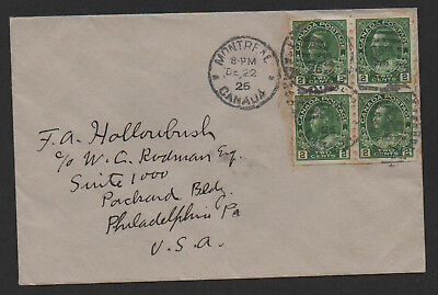 $Canada Sc#128a block of 4 on cover 1926 Montreal to Philadelphia PA