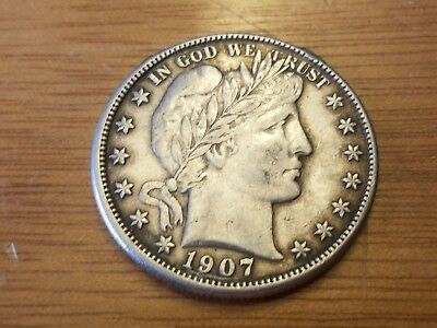1907 O New Orleans 50 C Silver Barber Liberty Half Dollar Liberty Circulated
