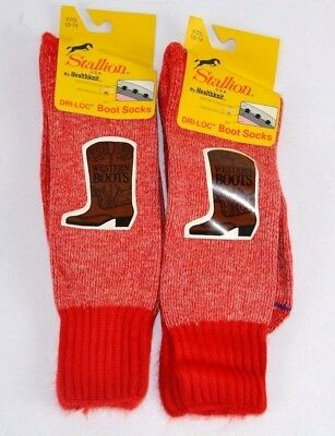 Vtg Lot of 2prs Stallion WESTERN BOOT SOCKS 75% Soft ORLON Acrylic Red 10-14