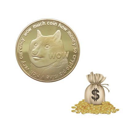 WOW Puppy Dog Dogecoin Commemorative Souvenir Coin Round Collection Gift Gold