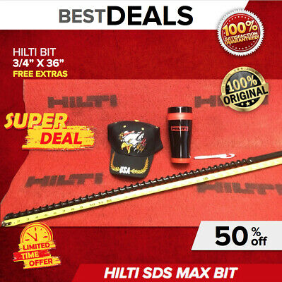 "Hilti Te-F Drill Bit 3/4"" X 36"", New, Free Mug, Hat, Pen, Fast Shipping"
