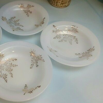 "FEDERAL White Milk Glass GOLDEN GLORY BAMBOO 4 Soup Bowls 8"" Heat Proof"