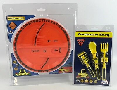 Constructive Eating - Construction Utensil Set with Construction Plate & CONSTRUCTIVE EATING set of 3 Utensils with Plate great teaching tool ...