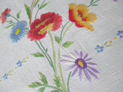 Vintage Tablecloth Linens & Textiles (pre-1930) Hand Embroidered With Harvest Flowers