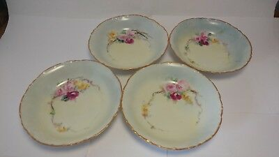"Set of 4 RC Rosenthal Versailles Bavaria Hand Painted Roses 5 3/4"" Fruit Bowls"