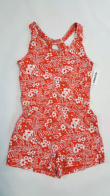 NWT Old Navy Kids Girls Size 6-7 8 or 10-12 Orange Flower Knit Shorts Romper