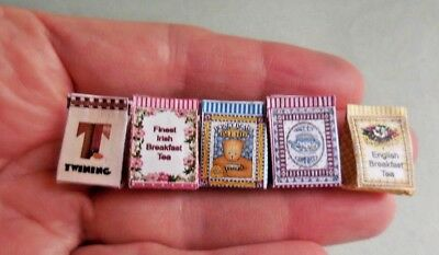 a DOLLHOUSE MINIATURE ~ TEA SACK 5 PIECE SET ~  LORRAINE SCUDERI