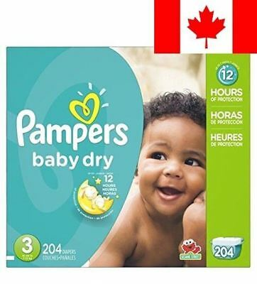 Pampers Baby Dry Disposable Diapers Size 3, 204 Count (Packaging May Vary)