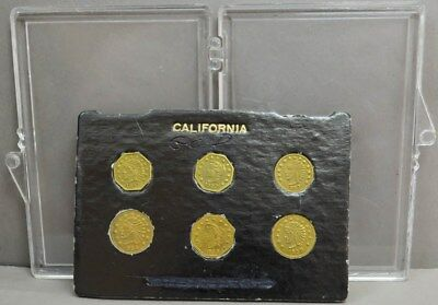 California Gold Token Set Gilted Brass Liberties and Indian With Wreath