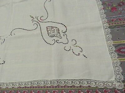 TWO Vintage Hand Made Cutwork Open Needlework White Linen Small Tablecloths EXC