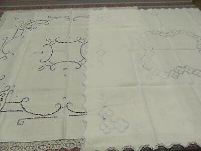 "TWO Vintage WHITE LINEN & BLUE NEEDLE EMBROIDERED LACE Tablecloths 32"" X 34"" EXC"