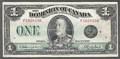 1923 Dominion of Canada - $1.00 Bank Note - Fine - Campbell Clark - F1028356