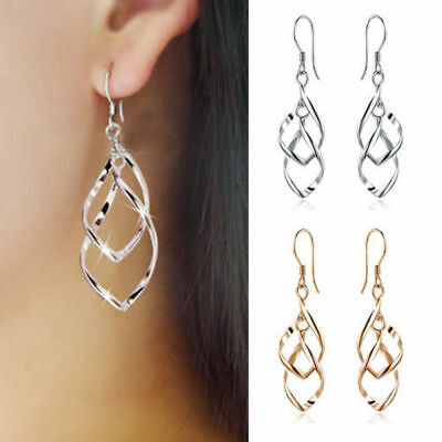 New Women Silver Plated Fashion Lady Dangle Ear Stud Hoop Earrings Jewelry Hot