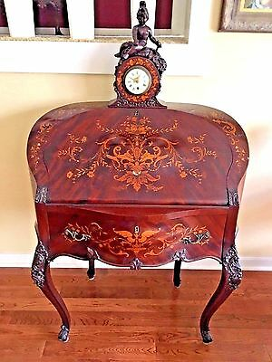 Antique French Queen Anne Ladies Writing Desk Intricate Inlaid MOP and Wood