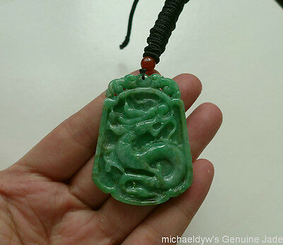 Fine Natural Type A Emerald Jadeite Antique Dragon Pendant