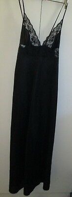 Vintage Hickory Size 14 Black Nightie Night Gown Strappy Made In Australia Lacey