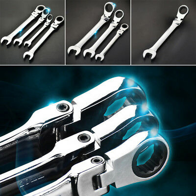 1pc 6mm~24mm Flexible Head Ratchet Metric Wrench Spanner Open End&Ring Tool Kits