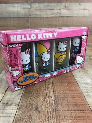 Hello Kitty Drinking Cooler Glasses Set of 4 15 oz - New USA seller