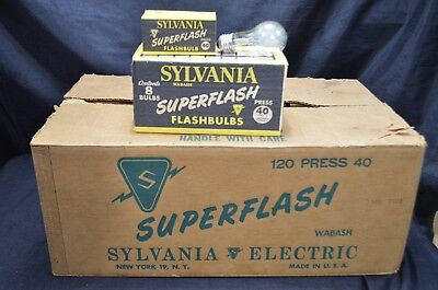 Lot Of 120 SYLVANIA #40 Clear Flash Bulbs With 30,000 Light Lumens Output