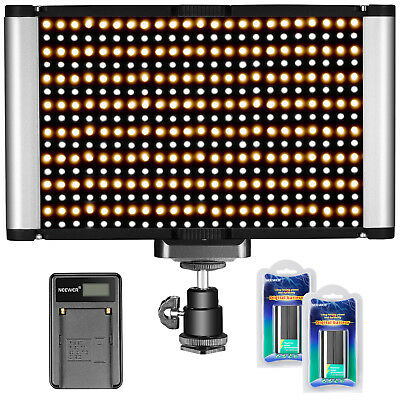 Neewer Bi-Color Led-280 LED Video Light with 2 Batteries and USB Battery Charger