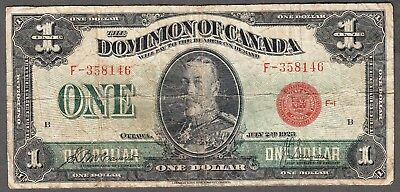 1923 Dominion of Canada - $1.00 - VG - McCavour Saunders - F358146 - Red Seal