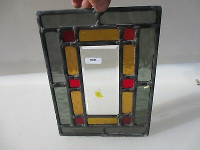 """Vintage Stained Glass Window Panel Old   6.75"""" x 9.25"""""""