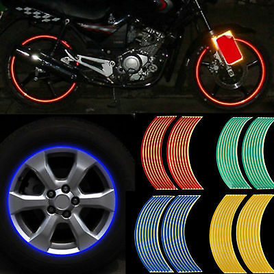 16 Strips Lots Reflective Motorcycle Car Rim Stripe Wheel Decal Tape Sticker