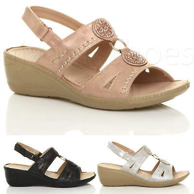 Womens Ladies Mid Wedge Slingback Diamante T-Bar Strappy Comfort Sandals Size