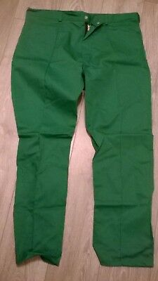 mens mid green work hospital vet ambulance NEW trousers, sewn in front crease.