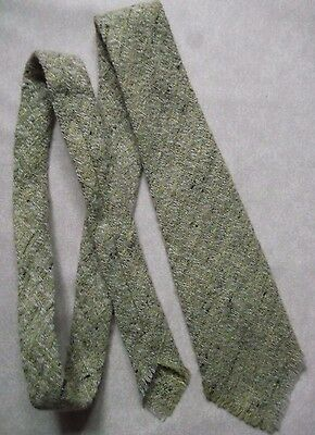 PURE WOOL CHECKED VINTAGE TIE 1960s 1970s FRINGED BY SAXONY SCOTLAND RETRO