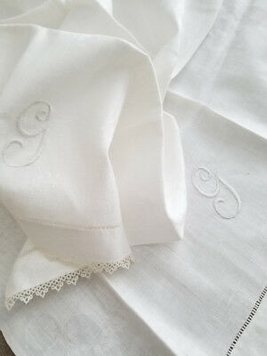 2 Antique MONOGRAMMED White Towels ' G ' w/ Damask PANSY Flowers & TATTED Edges