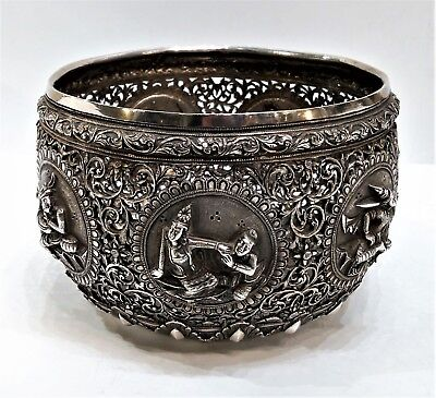 Antique Burmese Silver Bowl,  Pierced Design, Jataka,  Burma (Myanmar) – 19Th C.